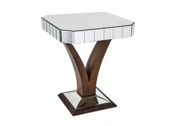 Broughton House Decorative Glass Wood Side Table