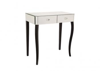 Broughton House Glass Black Leg Tall Side Table