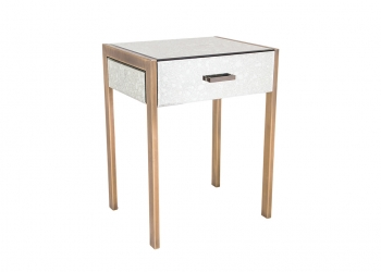 Broughton House Glass Gold Leg Side Table